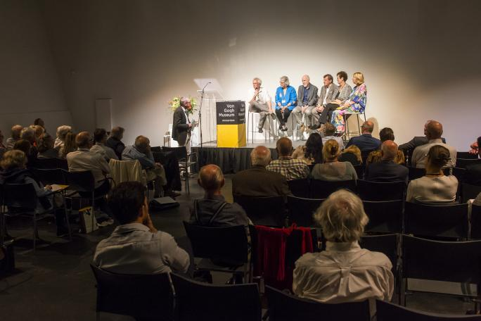 Expert panel discussing Van Gogh's illness (Professor Childs is second from the right).  Photo taken by Jan-Kees Steenman