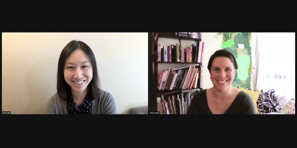 Jenny Wu, left, Emily Bryan, right, in split screen zoom view